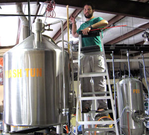 Ben and his sour mash tun.