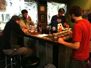 Andy Sparks, Ben Mills, and Kort Castleberry (far right) donated their taste buds to the cause.