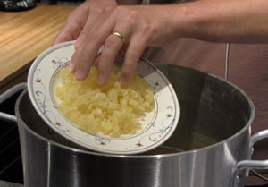 Candied pineapple adds flavor and raises the specific gravity.